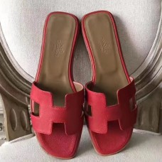 Hermes Oran Sandals In Red Epsom Leather