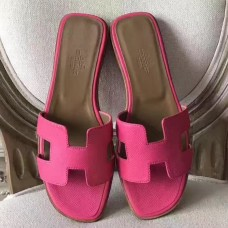 Hermes Oran Sandals In Rose Red Epsom Leather
