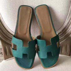 Hermes Oran Sandals In Malachite Epsom Leather