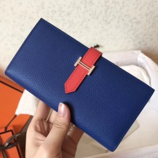 Hermes Bi-Color Epsom Bearn Wallet Electric Blue/Piment