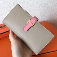 Hermes Bi-Color Epsom Bearn Wallet Grey/Pink