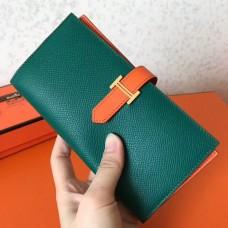 Hermes Bi-Color Epsom Bearn Wallet Malachite/Orange