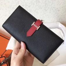 Hermes Bi-Color Epsom Bearn Wallet Black/Ruby
