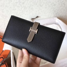 Hermes Bi-Color Epsom Bearn Wallet Black/Taupe