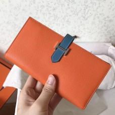 Hermes Bi-Color Epsom Bearn Wallet Orange/Blue Jean
