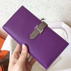 Hermes Bi-Color Epsom Bearn Wallet Ultraviolet/Taupe