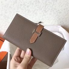 Hermes Bi-Color Epsom Bearn Wallet Taupe/Brown