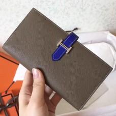 Hermes Bi-Color Epsom Bearn Wallet Taupe/Electric Blue