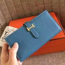 Hermes Blue Jean Clemence Bearn Gusset Wallet