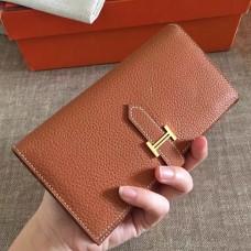Hermes Brown Clemence Bearn Gusset Wallet