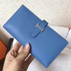 Hermes Blue Jean Epsom Bearn Gusset Wallet