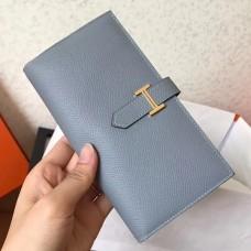 Hermes Blue Lin Epsom Bearn Gusset Wallet