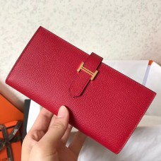 Hermes Red Epsom Bearn Gusset Wallet