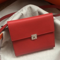 Hermes Red Clic 16 Wallet With Strap