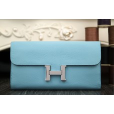 Hermes Constance Wallet In Light Blue Epsom Leather