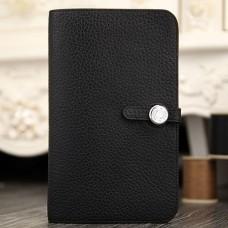 Hermes Dogon Combine Wallet In Black Leather