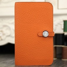 Hermes Dogon Combine Wallet In Orange Leather