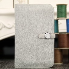 Hermes Dogon Combine Wallet In White Leather