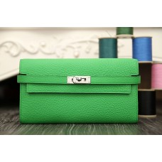 Hermes Kelly Longue Wallet In Bamboo Clemence Leather