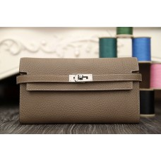 Hermes Kelly Longue Wallet In Etoupe Clemence Leather