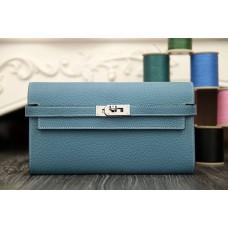 Hermes Kelly Longue Wallet In Jean Blue Clemence Leather