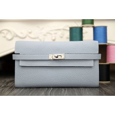 Hermes Kelly Longue Wallet In Blue Lin Clemence Leather