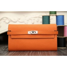 Hermes Kelly Longue Wallet In Orange Clemence Leather