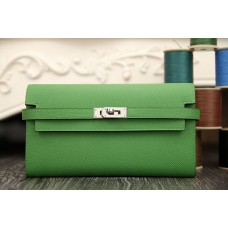 Hermes Kelly Longue Wallet In Bamboo Epsom Leather