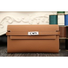 Hermes Kelly Longue Wallet In Brown Epsom Leather