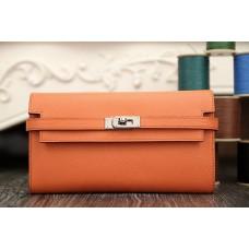 Hermes Kelly Longue Wallet In Crevette Epsom Leather