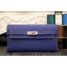 Hermes Kelly Longue Wallet In Electric Blue Epsom Leather
