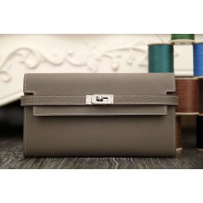 Hermes Kelly Longue Wallet In Etoupe Epsom Leather