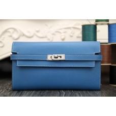 Hermes Kelly Longue Wallet In Jean Blue Epsom Leather