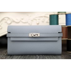 Hermes Kelly Longue Wallet In Blue Lin Epsom Leather