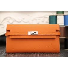 Hermes Kelly Longue Wallet In Orange Epsom Leather