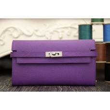 Hermes Kelly Longue Wallet In Purple Epsom Leather