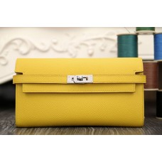 Hermes Kelly Longue Wallet In Yellow Epsom Leather