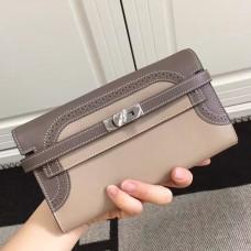 Hermes Bicolor Kelly Ghillies Wallet In Beige Swift Leather