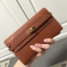 Hermes Kelly Ghillies Wallet In Brown Swift Leather