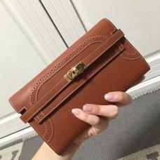 Hermes Kelly Ghillies Wallet In Brown Swift Leather
