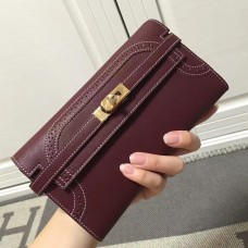 Hermes Kelly Ghillies Wallet In Bordeaux Swift Leather