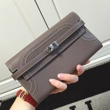 Hermes Kelly Ghillies Wallet In Etoupe Swift Leather