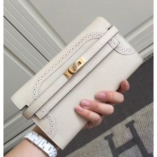 Hermes Kelly Ghillies Wallet In Ivory Swift Leather