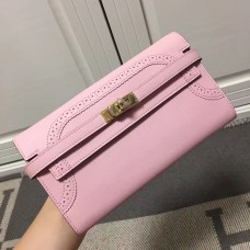 Hermes Kelly Ghillies Wallet In Pink Swift Leather