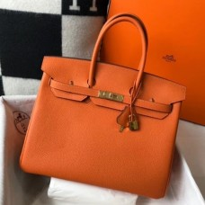 Hermes Birkin 30cm 35cm Bag In Orange Clemence Leather