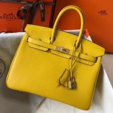 Hermes Birkin 25cm Bag In Soleil Clemence Leather Handmade Bag
