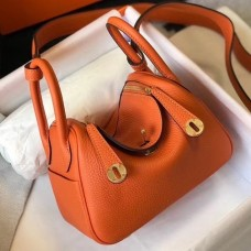 Hermes Mini Lindy Bag In Orange Clemence Leather