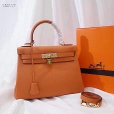 Hermes Kelly 32cm Sellier Bag In Orange Togo Leather Handmade Bag