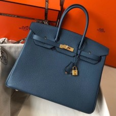 Hermes Birkin 30cm 35cm Bag In Blue Agate Clemence Leather