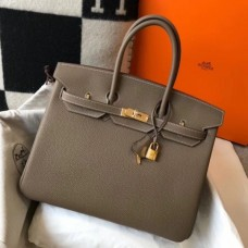 Hermes Birkin 30cm 35cm Bag In Taupe Clemence Leather